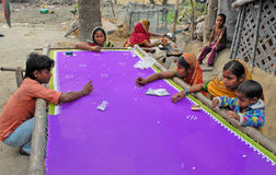 Survival. An underprivileged family are doing stitching and embroidery for earn Stock Photography