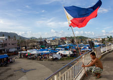 Survivants de Haiyan d'ouragan photographie stock libre de droits