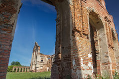 Survived ruins of Sapieha magnate family residence Ruzhany Palace in Belarus Royalty Free Stock Images