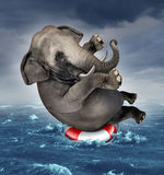 Surviving Adversity. And managing risk for big business challenges and uncertainty with a large elephant floating on a life preserver in a storm ocean vector illustration