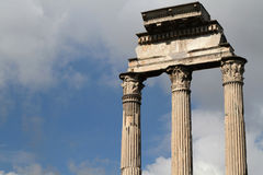 Surviving columns of the Temple of Castor and Pollux Royalty Free Stock Photography