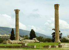 The surviving Corinthian columns of Temple of Olympian Zeus in Athens Royalty Free Stock Images