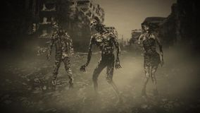 Three zombies go on the road in the middle of the destroyed city.  stock footage
