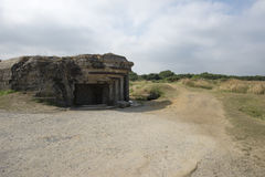Surviving observation bunker at the Pointe du Hoc, France Royalty Free Stock Photo