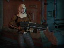 The Survivor. Futuristic sci-fi gunman with big gun, 3d digitally rendered illustration Royalty Free Stock Photography