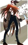 Survivor holding pick axe over grunge bakground stock illustration