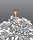 Survivor reaching hand among skulls Stock Image