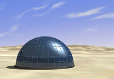 Survivors. One dome in the middle of a desert (3d render Royalty Free Stock Images