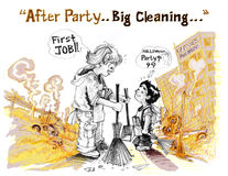 Survivors children big cleaning clear all Royalty Free Stock Photo