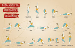 Surya namaskar B stock illustrationer