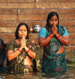 Surya Namaskar by pilgrims royalty free stock image