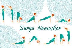 Surya Namaskar yoga complex sun salutation Royalty Free Stock Photos
