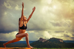Surya Namaskara - Sun Salutation Stock Photography