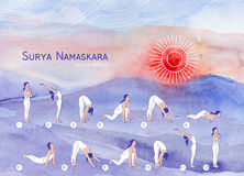 Surya Namaskara. Yoga poster for yoga class. Stock Photos
