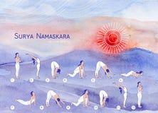 Surya Namaskara. Yoga poster for yoga class. Stock Photos