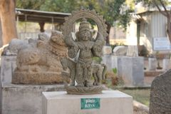 Surya Stone lies in the open-air museum in Hampi, India. Stone s. Culpture stock photos
