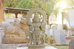 Surya Stone lies in the open-air museum in Hampi, India. Stone s. Culpture stock image