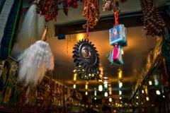 Surya-Totem in Manikaran Stockfotografie