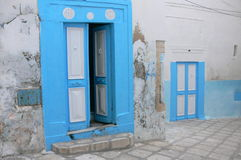 Sus-old town. Tunisian blue door at the Medina in Sus- old town Stock Photos