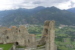 Susa valley viewed from Sacra di San Michele of Piedmont, Italy Royalty Free Stock Images