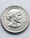 Susan B anthony front. A Susan. B Anthony dollar on white textile. Front