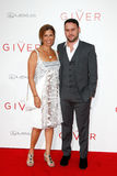 Susan Braun, Scooter Braun. NEW YORK-AUG 11: Producer Scooter Braun (R) and mother Susan Braun attend the premiere of The Giver at the Ziegfeld Theatre on August Stock Images