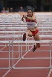 Susan Coltman bij IAAF heptathlon stock fotografie