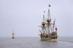 The Susan Constant, Godspeed and Discovery,. Re-creations of the three ships that brought English colonists to Virginia in 1607, flying the English and Union Royalty Free Stock Image