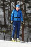 Susan Dunklee of the United States during warm up before biathlon Women`s 15km Individual at the 2018 Winter Olympics. PYEONGCHANG, SOUTH KOREA - FEBRUARY 15 Royalty Free Stock Photos