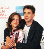 Susan Levin en Robert Downey Jr. stock foto