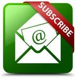 Suscriba el botón del cuadrado del verde del icono del correo electrónico del hoja informativa Imágenes de archivo libres de regalías