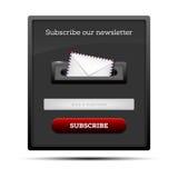 Suscriba nuestro hoja informativa - forma del sitio web Imágenes de archivo libres de regalías