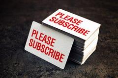 Suscriba por favor las tarjetas de visita Foto de archivo libre de regalías