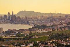 Suset au-dessus de Barcelone Image stock