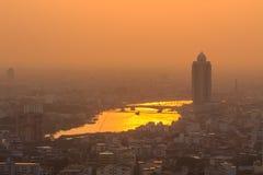 Suset and Chao Phraya River and  City View , Bangkok Royalty Free Stock Images