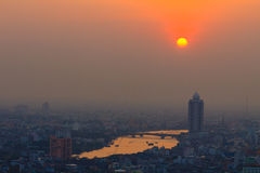 Suset and Chao Phraya River and  City View , Bangkok in Thailand Stock Images