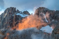 Suset in Dolomite Alps, Italy Royalty Free Stock Photography