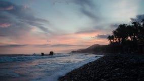 Suset od plaży El Tunco, Salwador zdjęcia stock