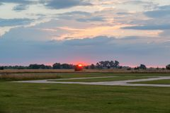 Suset over the airfield Stock Photography