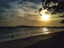 Suset. Sunset and Beach Stock Photography