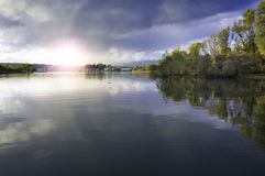 Suset on Ticino riverbanks, Lake Maggiore. Color image Stock Images