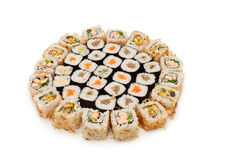 Sush. Great sushi set on a white background Royalty Free Stock Images