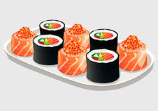 Sush rolls on a white porcelain dish, isolated on grey Stock Photography