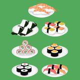 Sushi är en japansk maträttillustration stock illustrationer