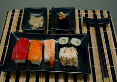 Sushi 01. A set with sushi, wasabi, ginger and soy stock photo