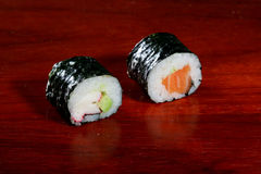 Sushi. On wooden plate Stock Photography