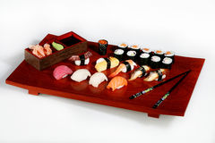 Sushi. On wooden plate Stock Photo