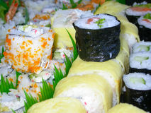 Sushi. California rolls, salmon rolls and the house special Stock Image
