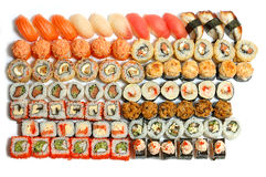 Sushi. Lot of sushi close up on a white background Stock Photo
