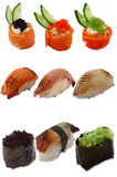 Sushi. Different grades on a white background Royalty Free Stock Photography